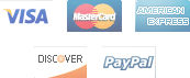 We accept Visa, Paypal, MasterCard, Americam Express, Discover