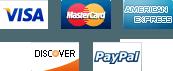 We accept Visa, Paypal, MasterCard, Americam Express, Discover